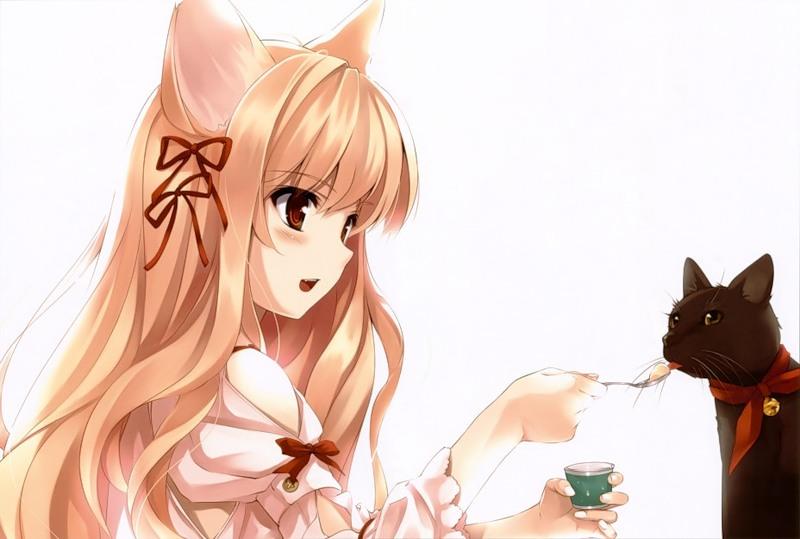 Девушка и кошка - Аниме картинки