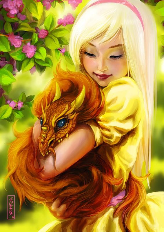 Девочка и дракон.Аниме картинки