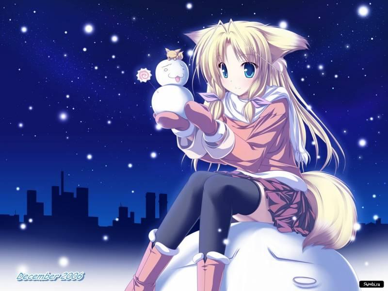 Девочка и снеговик - Аниме картинки