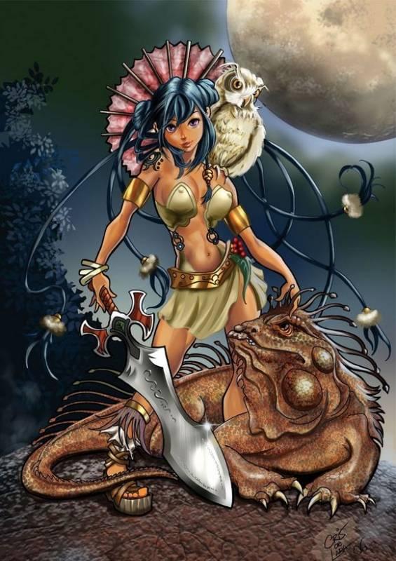 Девушка и ящер.Фэнтези
