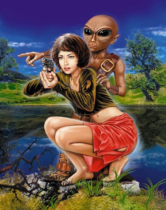 Картинка Девушка и инопланетянин из коллекции Обои для рабочего стола Фэнтези