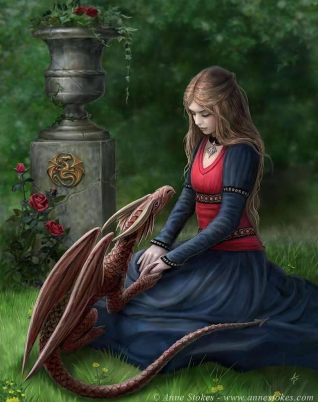 Картинка Девушка и Дракон из коллекции Обои для рабочего стола Фэнтези