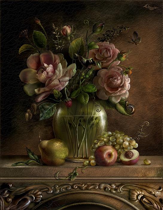 Ваза с цветами.Искусство Живопись