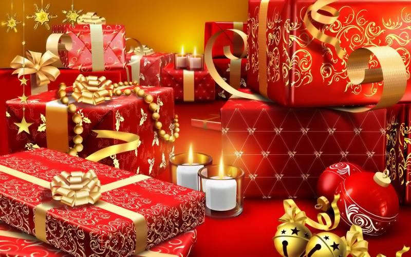 Подарки в канун Рождества.Новогодние обои 2018