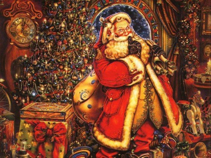 Дед Мороз с подарками.Новогодние обои 2017