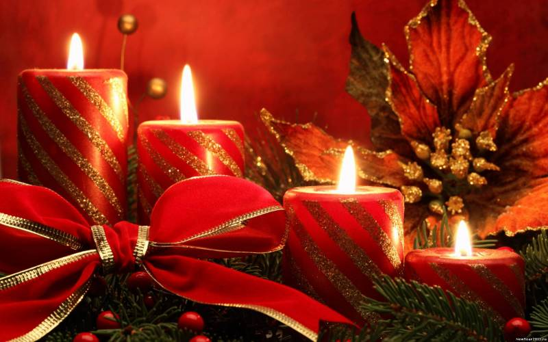 Обоя Рождественские свечи.Новогодние обои 2018