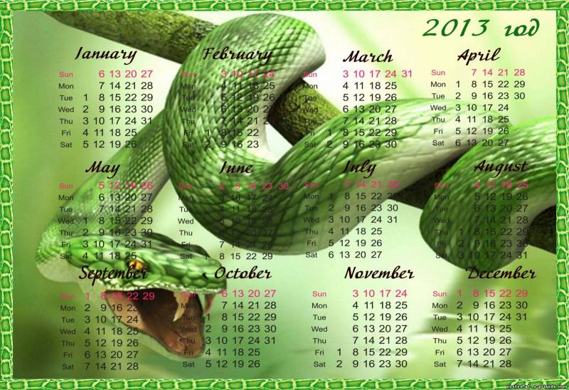 Календарь год змеи 2013 - Новогодние обои 2018