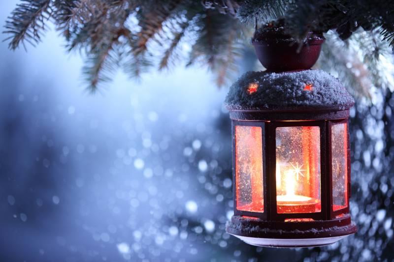 Рождественский фонарь - Новогодние обои 2019