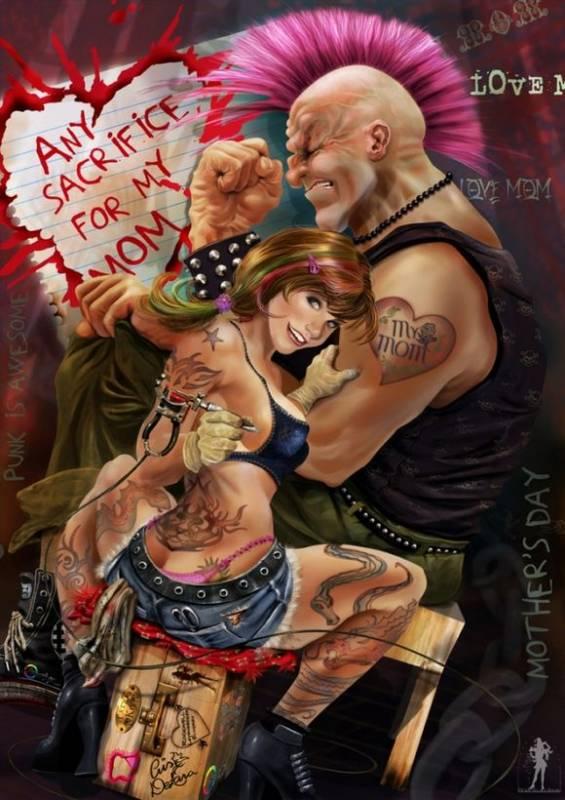 Картинка Девушка с татуировкой из коллекции Обои для рабочего стола Иллюстрации