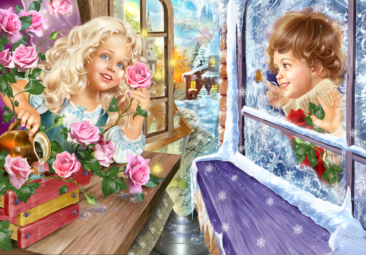 Картинка Кай и Герда из коллекции Обои для рабочего стола Иллюстрации