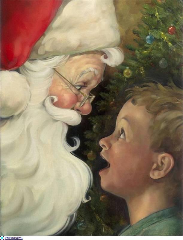 Картинка Мальчик и Дед Мороз. из коллекции Обои для рабочего стола Иллюстрации
