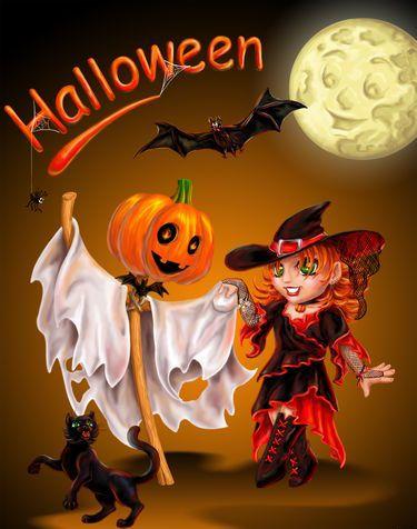 Картинка Хэллоуин открытка из коллекции Открытки День Всех Святых Хэллоуин